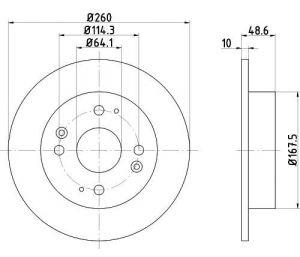 Tarcza hamulcowa przód 260X10 P 4-OTW HONDA ACCORD/CIVIC/ROVER 600 TEXTAR