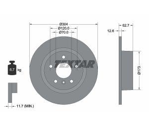 Tarcza hamulcowa tył 304X12.6 P 5-OTW LAND ROVER DISCOVERY/RANGE ROVER 94> TEXTAR