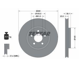 Tarcza hamulcowa przód 280X23 V 5-OTW CHRYSLER PT CRUISER TEXTAR