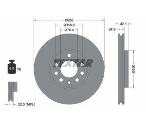 Tarcza hamulcowa przód 285X25 V 5-OTW FIAT CROMA/OPEL SIGNUM/VECTRA/SAAB 9-3/9-3X TEXTAR