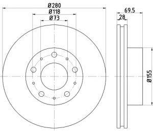 Tarcza hamulcowa przód 280X28 V 5-OTW CITROEN JUMPER/FIAT DUCATO/PEUGEOT BOXER /STARY NR 92157200/ TEXTAR