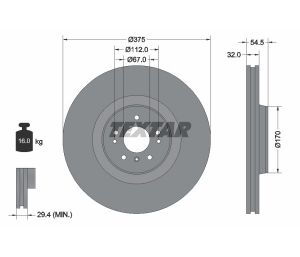 Tarcza hamulcowa tył 375X32 V 5-OTW MERCEDES GL X164 06> TEXTAR