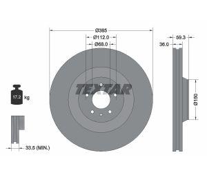 Tarcza hamulcowa tył 385X36 V 5-OTW AUDI A8 03-10 S8/6.0 W12 TEXTAR