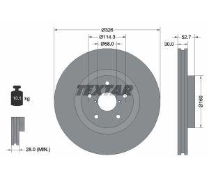 Tarcza hamulcowa tył 326X30 V 5-OTW SUBARU IMPREZA 01> WRX TEXTAR