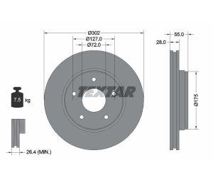 Tarcza hamulcowa tył 302X28 V 5-OTW JEEP WRANGLER III 06> TEXTAR