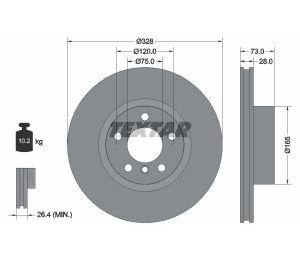Tarcza hamulcowa tył 328X28 V 5-OTW BMW X3 F25 10> PRO+ TEXTAR