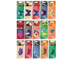 MIX ZWIESZEK ZAPACHOWYCH  zapach papierowy zawieszka mix: owoce, motyle, liście -
