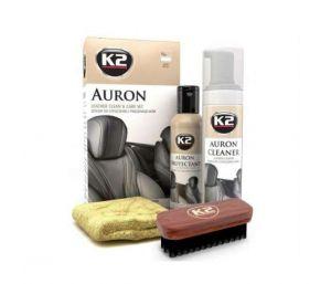 AURON zestaw (Auron Cleaner+Auron Protectant+szczotka Auron Brush + mikrofibra) Zestaw do czyszczenia i pielęgnacji skór - 200ml